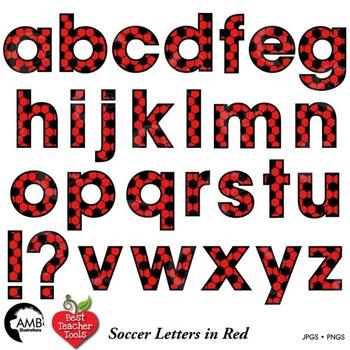 Soccer Letters Clipart, Red Alphabet Clipart,  {Best Teacher Tools} AMB-1984