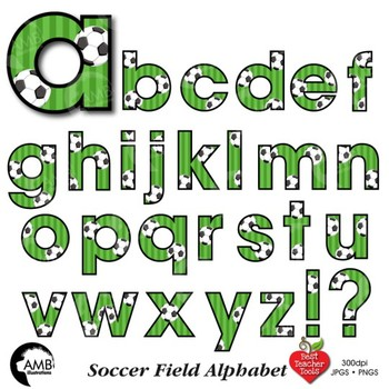 Soccer Letters Clipart, Football Alphabet Clipart, {Best Teacher Tools} AMB-1968