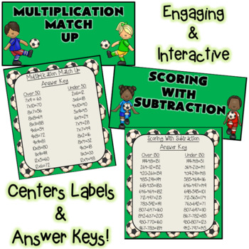 Soccer Math Centers - Multiplication and Subtraction