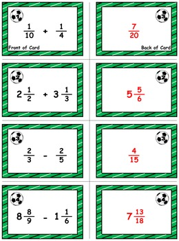 "Soccer Math Skills & Learning Center (Add & Subtract ""Unlike"" Fractions)"