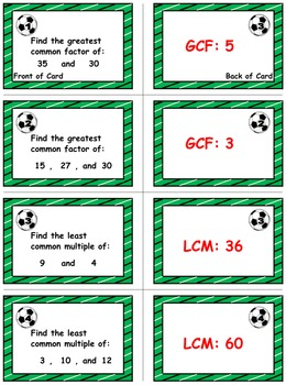 Soccer Math Skills & Learning Center (Finding the GCF & LCM)