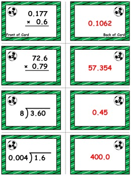 Soccer Math Skills & Learning Center (Multiply & Divide Decimals)