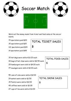Soccer Maths Financial literacy