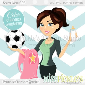 Soccer Mom 002, Brunette- Commercial Use Character Graphic