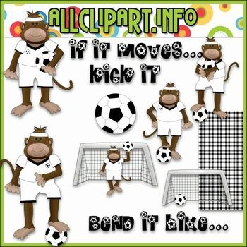 $1.00 BARGAIN BIN - Soccer Monkeys Clip Art