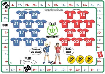 Soccer Number Facts to 30 Game