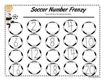 Soccer Number Frenzy - Trace and Write the Numbers