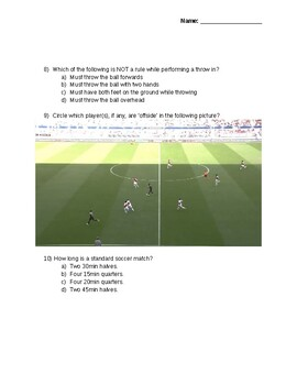 Soccer Quiz Grade 7-9