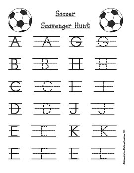 Soccer Scavenger Hunt: Uppercase and Lowercase Letters, Printables