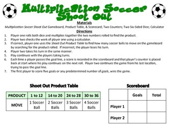 Soccer Shoot Out - A 2-Player Game to Practice the Basic Facts of Multiplication