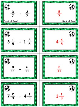 """Soccer Showdown Game Cards (Add & Subtract """"Like"""" Fractions) Sets 4-5-6"""