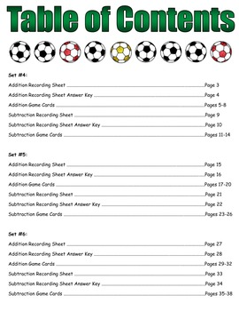 """Soccer Showdown Game Cards (Add & Subtract """"Unlike"""" Fractions) Sets 4-5-6"""