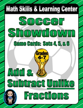 "Soccer Showdown Game Cards (Add & Subtract ""Unlike"" Fractions) Sets 4-5-6"