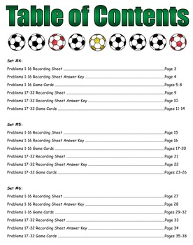 Soccer Showdown Game Cards (Division with 2-Digit Divisors) Sets 4-5-6