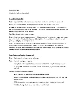 Soccer Skills and Games - Unit Plan
