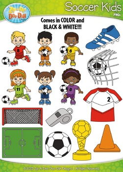 Soccer Sports Kid Characters Clipart {Zip-A-Dee-Doo-Dah Designs}