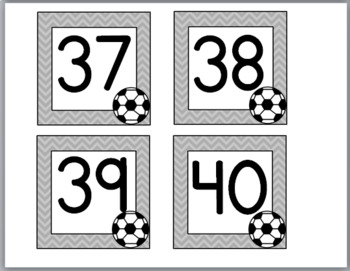 Soccer Sports Theme Classroom Décor Number Labels 1-40