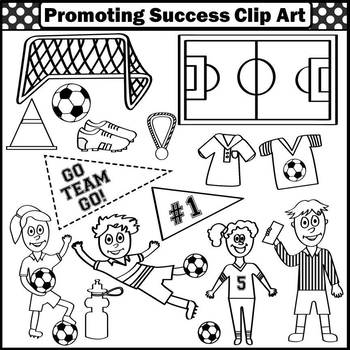 Soccer Theme Clipart, Sports Clip Art, Soccer Player Goal Ball Referee SPS