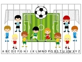 Soccer Sports themed Alphabet Sequence Puzzle preschool educational game.