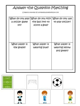 Soccer Sports themed Answer the Question preschool educational game.
