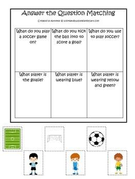 Soccer Sports themed Answer the Question preschool educati