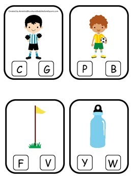 Soccer Sports themed Beginning Sounds Clip it Cards preschool educational game.