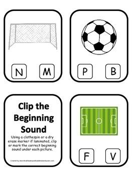 Soccer Sports themed Beginning Sounds Clip it Cards presch