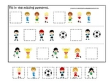Soccer Sports themed Fill in the Missing Pattern preschool educational math game
