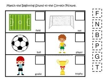 Soccer Sports themed Match the Beginning Sound preschool educational game.