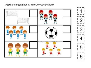 Soccer Sports themed Match the Number preschool educational game.  Child care.