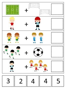 Soccer Sports themed Math Addition preschool learning game.  Daycare curriculum.