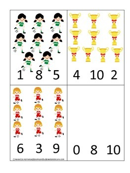 Soccer Sports themed Math Numbers Clip it Cards preschool educational game.