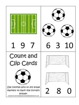Soccer Sports themed Math Numbers Clip it Cards preschool
