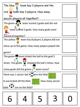 Soccer Sports themed Math Word Problems preschool learning activity.
