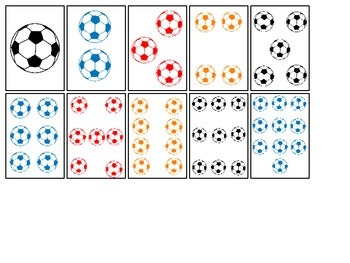 Soccer Sports themed Number Matching Cards preschool educational activity.