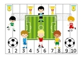 Soccer Sports themed Number Sequence Puzzle 1-10 preschool educational activity.