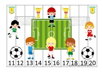 Soccer Sports themed Number Sequence Puzzle 11-20 preschool educational activity
