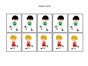 Soccer Sports themed Pattern Cards (boys) #2 preschool educational learning game