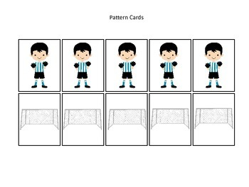 Soccer Sports themed Pattern Cards (boys) preschool educational learning game.