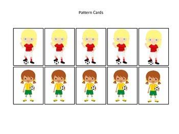 Soccer Sports themed Pattern Cards (girls) #1 preschool educational learning gam