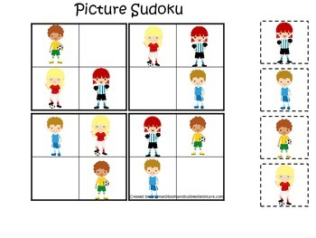 Soccer Sports themed Picture Sudoku preschool educational learning activity.