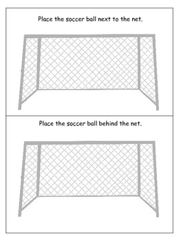 Soccer Sports themed Positional Cards preschool educational learning game.