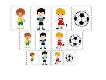 Soccer Sports themed Size Sorting (boys) preschool educati