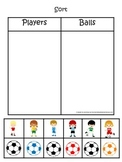 Soccer Sports themed Sorting activity. Preschool educational learning game.