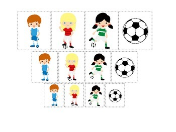 Soccer Sports themed Size Sorting (girls) preschool educational learning game.