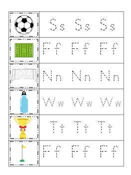 Soccer Sports themed Trace the Letter preschool educationa