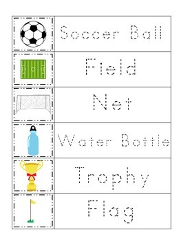 Soccer Sports themed Trace the Word preschool educational worksheets.