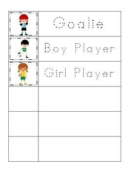 soccer sports themed trace the word preschool educational worksheets. Black Bedroom Furniture Sets. Home Design Ideas