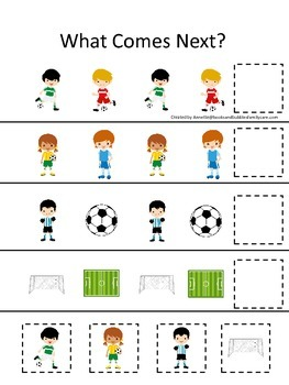 Soccer Sports themed What Comes Next preschool educational learning game.