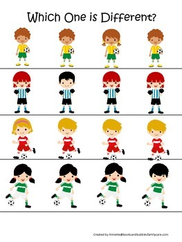 Soccer Sports themed Which One is Different preschool educational learning game.